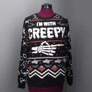 """I'm With Creepy"" Junior's Halloween Sweatshirt"